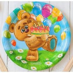"""Набор тарелок """"Мишка с тортиком"""" 18см 10шт."""