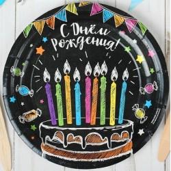 """Набор тарелок """"Торт черный фон"""" 18см 10шт."""