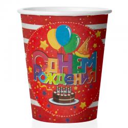 """Набор стаканов """"С днем рождения тортик красный фон"""" 225мл 6шт."""