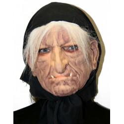 """Латексная маска """"Баба-Яга"""" в черном платке"""