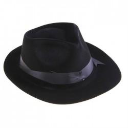 """Карнавальная шляпа """"Гангстера"""" пластик велюр (чёрная)"""
