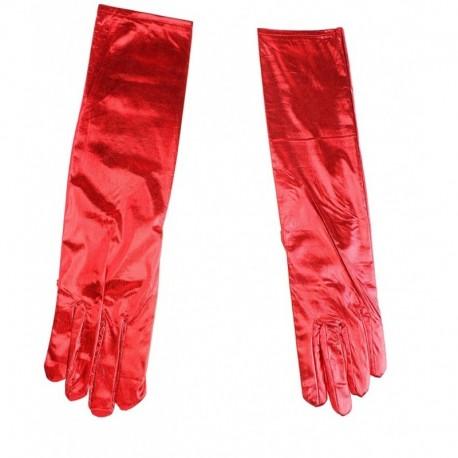"""Перчатки длинные """"Блестящие"""" красные"""