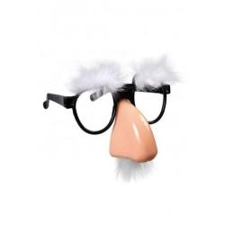 Очки-маска с носом (брови+усы) белые