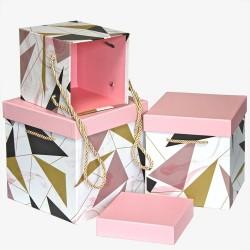 """Набор коробок 3 в 1 """"Абстракция, Розовый/Белый"""""""