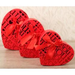 """Набор коробок-сердце 3в1 красное """"LOVE"""""""