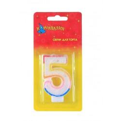 """Свеча-цифра """"5"""" ободок радуга блеск"""