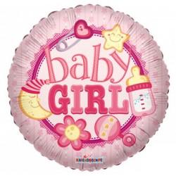 "Шар фольга круг 18/45см ""BABY GIRL"""