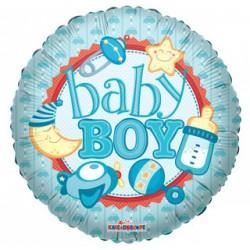 "Шар фольга круг 18/45см ""BABY BOY"""