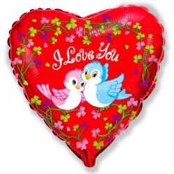 "Шар фольга сердце 18/45см ""Птички I LOVE YOU"""