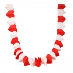 Гирлянда сердечки красно-белая 3м