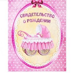"""Папка св-во о рождении """"Маленькое чудо"""" девочка"""
