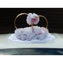 """Кольца авто """"Белые розы в сирен. фатине + цветы на кольцах""""  СК-001908"""