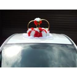 """Кольца авто """"Красно-белые розы + цветы на кольцах"""" СК-001909"""