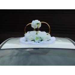 """Кольца авто """"Белые розы + цветы на кольцах""""  СК-001907"""