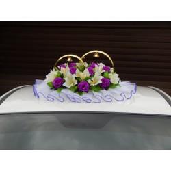 """Кольца авто """"Розы + лилии"""" бело-фиолетовые"""