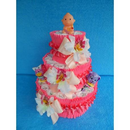 Торт из памперсов для девочки (ПМ-002022)