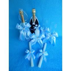 Свадебный набор из 4 предметов (голубой)