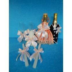 Свадебный набор из 4 предметов (персиковый)