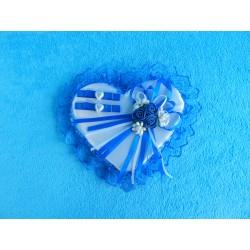 "Подушечка д/колец сердце ""3 розочки"" синяя"