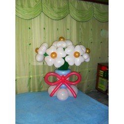Корзина цветы сердечки + бант 7шт.