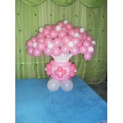 Корзина бело-розовая 19 цветов