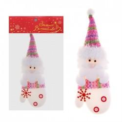 """Мягкая подвеска """"Дед Мороз """" в варежке бело-розовый"""