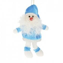 """Мягкая подвеска """"Дед Мороз"""" висячие ножки в голубом"""