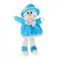 """Мягкая подвеска """"Снеговичок"""" висячие ножки в голубом"""