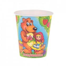 """Набор стаканов """"Маша и медведь"""" 225мл  6шт."""