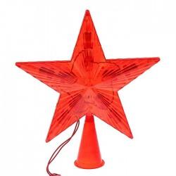 Звезда на елку светящаяся 16*16 красная