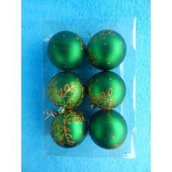 """Новогодние игрушки """"Шары с узорами"""" зеленые (набор 6шт)"""