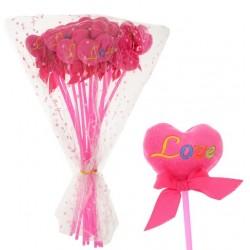 "Сердце на палочке с бантиком ""LOVE"" ярко-розовое"