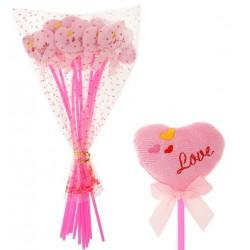 """Сердце на палочке с бантиком """"LOVE"""" розовое"""