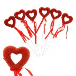 Сувенирное сердце на палочке  (сквозное, блеск) 1шт.