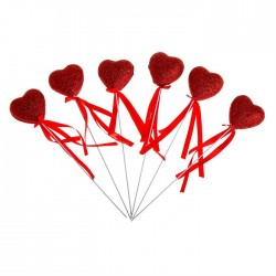 Сувенирное сердце на палочке (дутое, блеск) 1шт.