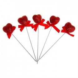 Сувенирное сердце на палочке мини (красное, блеск) d-2см 1шт.
