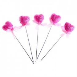 Сувенирное сердце на палочке мини (розовое, блеск) d-2см 1шт.