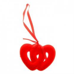 Подвеска двойное сердце (бархат) d-10см