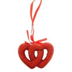 Подвеска двойное сердце (блеск) d-10см