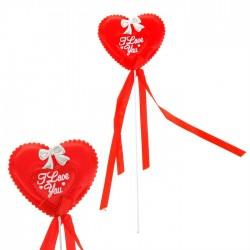 """Сувенирное сердце на палочке """" I  love you"""" (ткань)"""