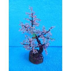 Дерево из бисера с ангелом (розовое)  23см