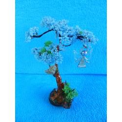Дерево из бисера с ангелом (голубое) 23см