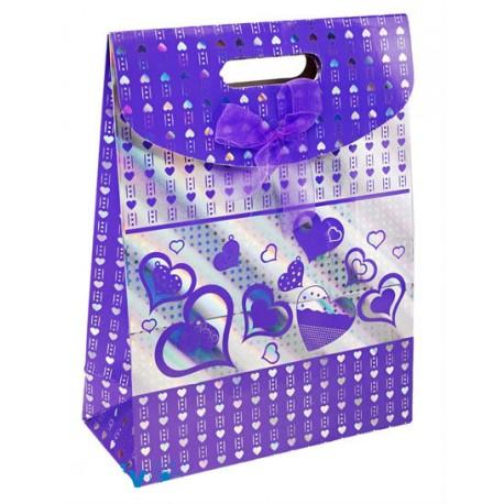 """Коробочка-пакет """"Фиолетовые сердца"""" 24*32*12,5"""