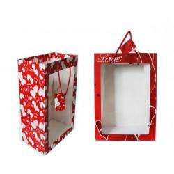 """Подарочный пакет: """"LOVE"""", цветной с рисунком /ассорти/, с прозрачной пластиковой вставкой, 25,5*35*15,5 см."""