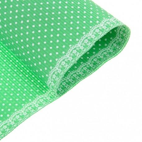 Бумага гофрированная 50*70см горошек на зеленом (1 лист)