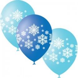 Шар латекс 12/30см с рис. Новый год снежинки