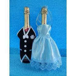 """Одежда на шампанское простая """"Жених + Невеста"""" (голубая)"""