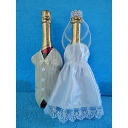 """Одежда на шампанское простая """"Жених + Невеста"""" (белая+шампань)"""
