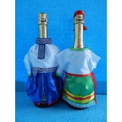 """Одежда на шампанское """"Национальная"""" (сине-зеленая)"""