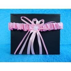 Свадебная подвязка простая (розовая)